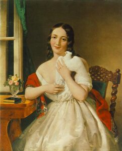 Painting Young woman with dark long hair in white dress holding a pigeon. she is seated on a chair